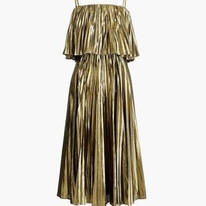 NWOT J. Crew Collection Gold Lamé Pleated Dress
